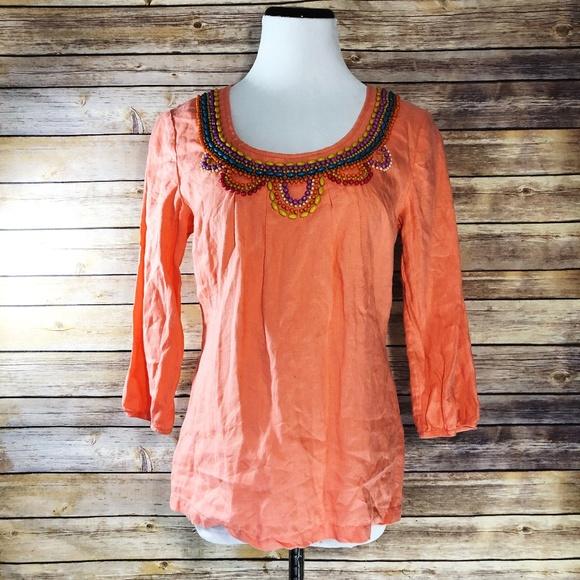 0f66f174e59 Boden Tops | Coral Orange Beaded Neckline Linen Blouse | Poshmark